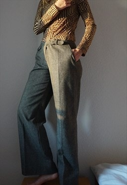 Vintage Marella Wool Trousers - Wide Leg Plaid Pants