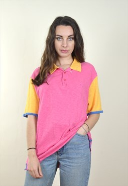 90's Vintage Sergio Tacchini Colourful Polo T Shirt