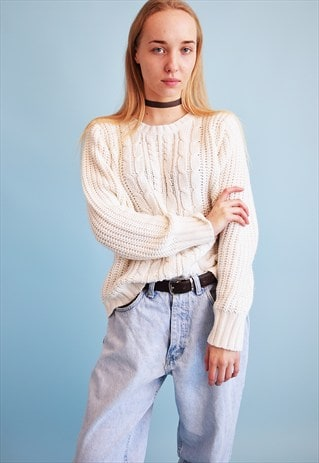 90'S RETRO KNITTED OVERSIZED OFF-WHITE JUMPER TOP