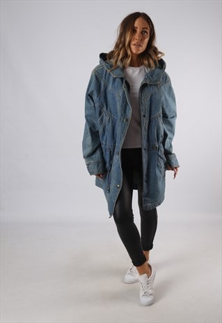 VINTAGE DENIM PARKA JACKET OVERSIZED LONG HOODED UK 14 (JQDB