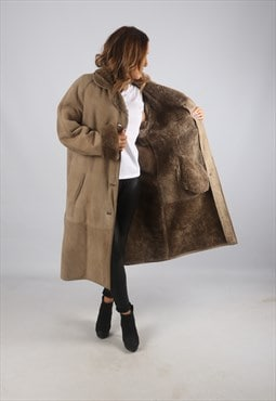 Vintage Sheepskin Suede Shearling Coat Long UK 16 - 18 (K9BQ