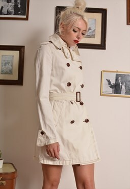 Vintage 90s Ralph Lauren Trench Coat in Off White Denim