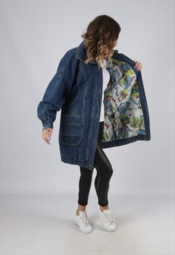 Denim Jacket Lined Long Oversized Longline UK 14 (HK7L)