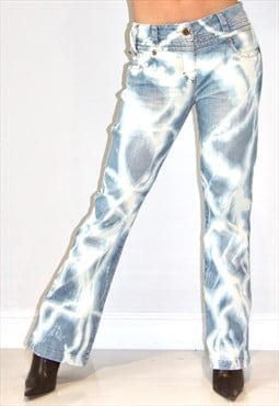 Reworked DENIM y2k Angel Bleached Bootcut Flared Jeans