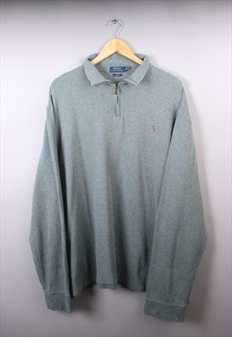 Mens Ralph Lauren Green Multi Quarter Zip Jumper