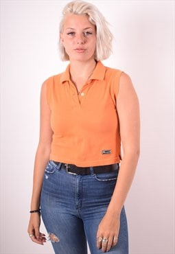 Champion Womens Vintage Polo Shirt Small Orange 90s
