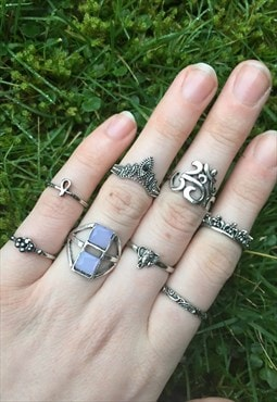 Womens Boho aztec om symbol gem silver colour set of Rings