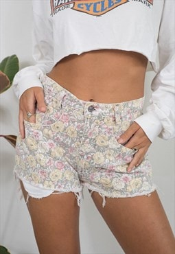 Vintage Floral High Waisted Denim Cut Off Shorts