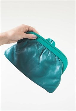 Vintage Green Leather Clutch Bag