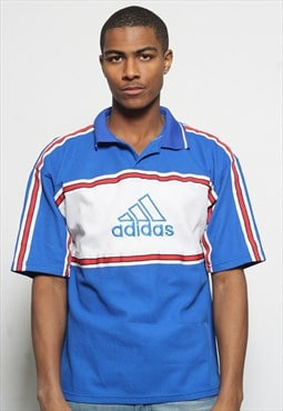 Vintage Adidas Big Logo Short Sleeve Polo T-Shirt Blue
