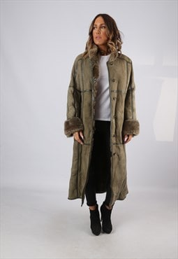 Sheepskin Suede Leather Shearling Coat UK 14 Large (LJBP)