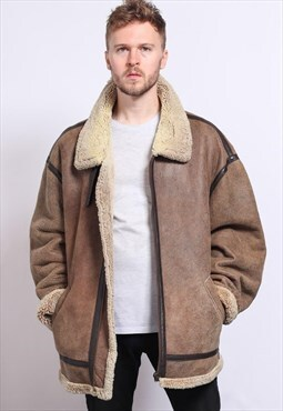 Vintage Suede Aviator Sheepskin Fleece Jacket