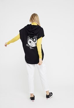 Sleeveless Hoodie in Black velvet Yin & Yang graphic print