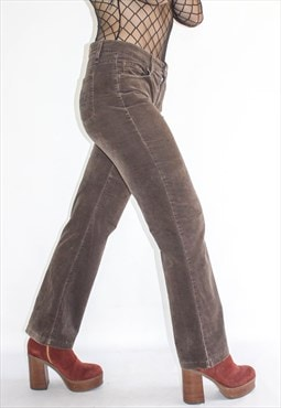 Vintage Brown Velvet Kick Flare Trousers