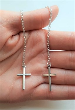 chain drop cross earrings