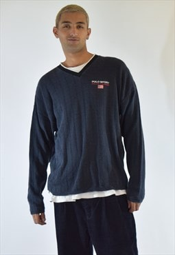 Vintage 90s Navy Blue Polo Sport V Neck Sweater