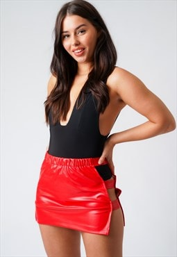 Red Faux Leather Cut Out Mini Skirt