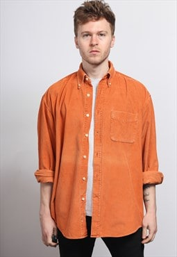 Vintage Corduroy Cord Shirt Orange