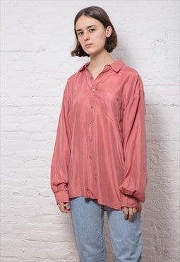 90s Vintage Pale Red Silk Shirt