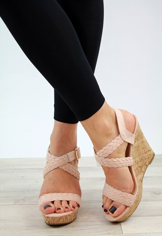 NUDE ESPADRILLE HIGH WEDGE SIDE BUCKLE SANDALS