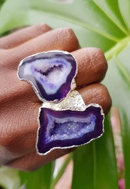 Silver Mega Purple Crystal Gemstone Statement Ring