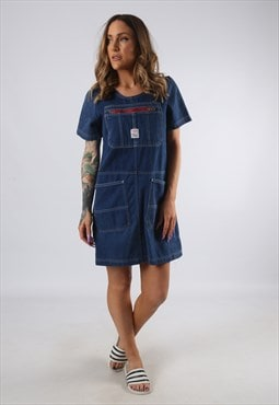 Vintage Denim Dress BICH REWORKED Dungarees UK 8 - 10 (9DDF)