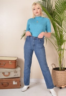 W30 Vintage High Waist Jeans in Blue Denim 90s
