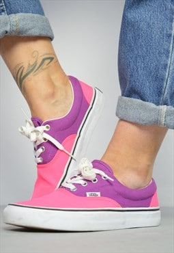Vintage 90s Vans Fluorescent Pink & Purple Skate Shoes Retro