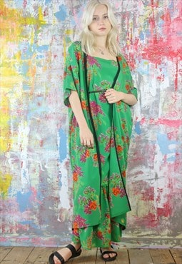 Maxi Dress & Kimono Co-ordinates in Flower Print