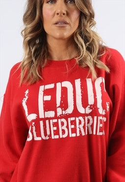 Sweatshirt Jumper Oversized BLUEBERRIES Print Logo 12 (H8CQ)