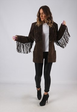 Suede Leather Fringe Tassel Fitted Jacket Vintage UK 14 CWCM