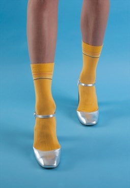 Mustard multi-coloured diagonal stripes ankle socks