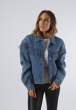Vintage Denim Quilt Fringe Tassel Jacket UK 12 M (K93N)