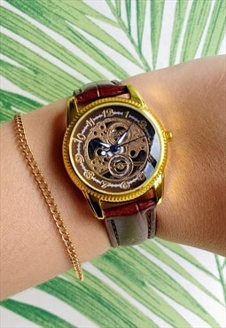 Traditional Dark Skeleton Style Watch