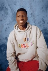 Personalised hoodie NO COLLEGE embroidery in moon grey
