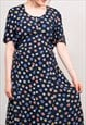 90'S VINTAGE NAVY BLUE FLOWER PATTERN MIDI SUMMER DRESS