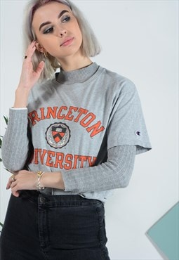 Vintage Champion t-shirt in grey with UNI print
