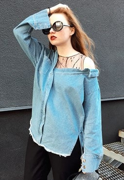 Denim Shirt with Mesh Insert