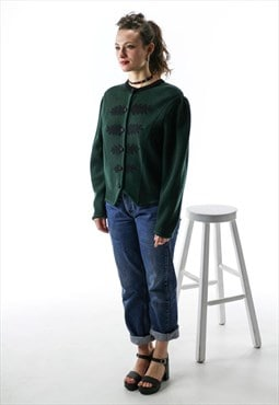 Wool Knit Cardigan / Forest Green Puffy Sleeves Sweater