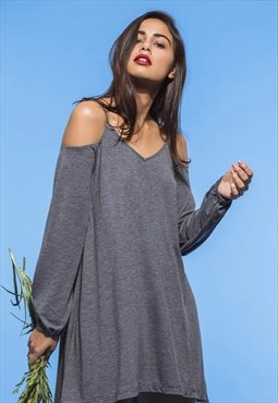 Grey cold shoulder knit dress