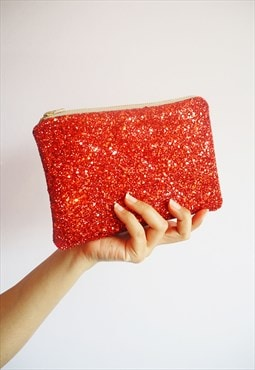 Red Glitter Makeup Bag