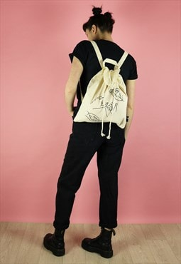Hands Line Drawing Print Canvas Backpack - Black on Natural