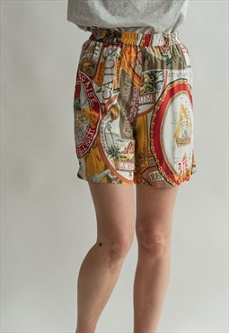 Vintage 80s patterned stretchy shorts with pockets