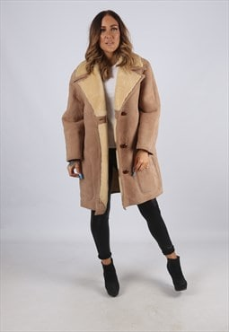Vintage Sheepskin Suede Shearling Coat Short Mid UK 14 (J2K)