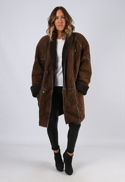 Sheepskin Suede Leather Shearling Coat UK 16 XL (LJ3S)