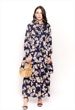 floral Daisy print elasticated waist maxi dress wedding