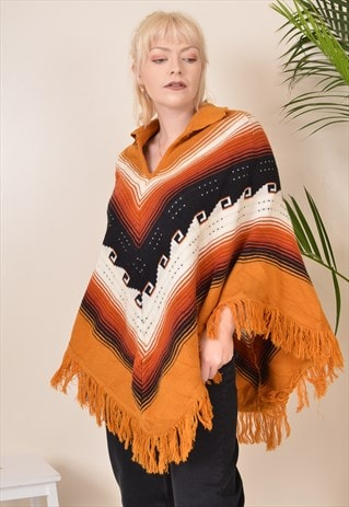 VINTAGE AUTUMN PATTERNED WOOL KNITTED HIPPY CAPE PONCHO 90S