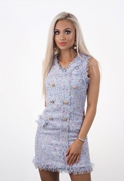 Helena Blue Tweed Dress