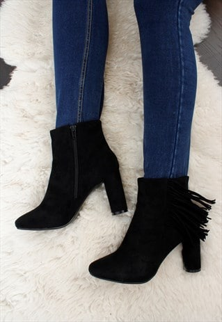 WOMENS LADIES BLACK FAUX SUEDE FRINGE BLOCK HEEL ANKLE BOOT