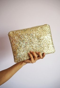 Glitter Clutch Bag in Gold Rainbow
